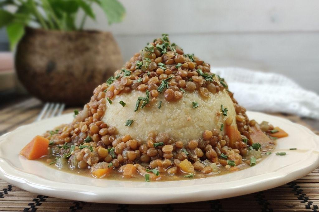polenta di miglio con lenticchie
